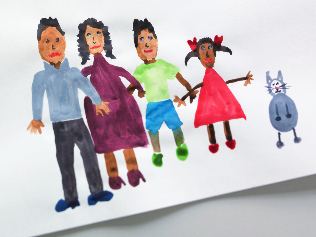A child's drawing of a family.