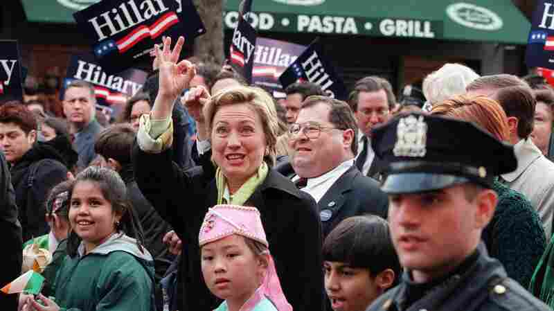 Hillary Clinton walking in the a St. Patrick's Day parade in Queens, N.Y., during her 2000 Senate race.
