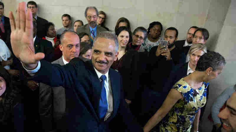 Holder said goodbye to Justice Department employees Friday.