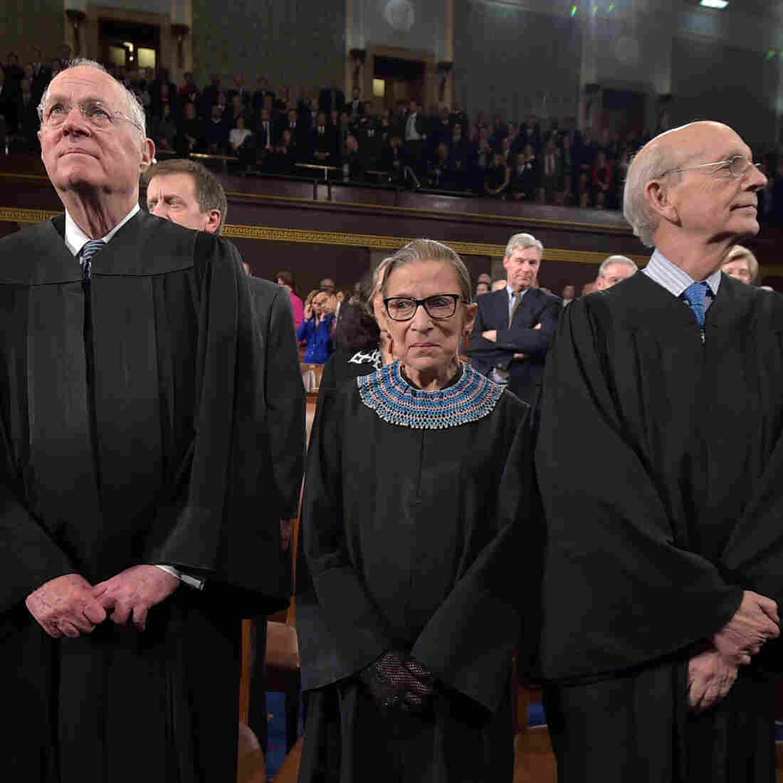 Chief Justice John Roberts (from left) and Justices Anthony M. Kennedy, Ruth Bader Ginsburg, Stephen G. Breyer and Sonia Sotomayor at the State of the Union address earlier this year.