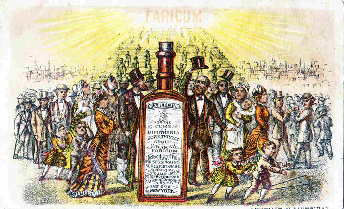 Fake medicines are a 21st-century scourge, but they've been around for a long time. This advertising trade card for snake oil was printed in New York City around 1880.