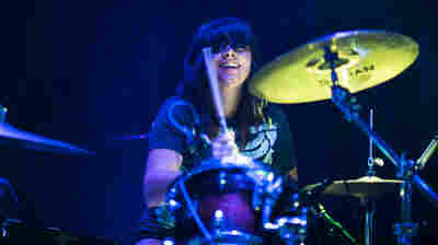 Kelly Olsen at the kit for the Philadelphia-based rock trio Cayetana, performing at NPR Music's