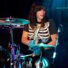 Kelly Olsen at the kit for the Philadelphia-based rock trio Cayetana, performing at NPR Music's CMJ music festival show.