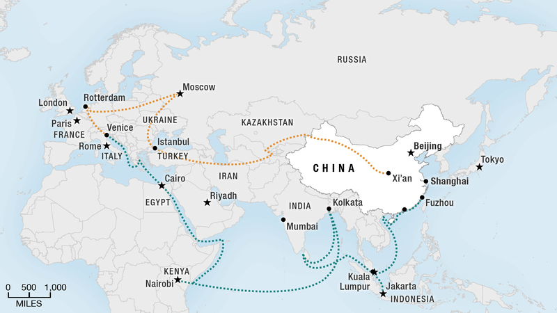 Map of new Silk Road