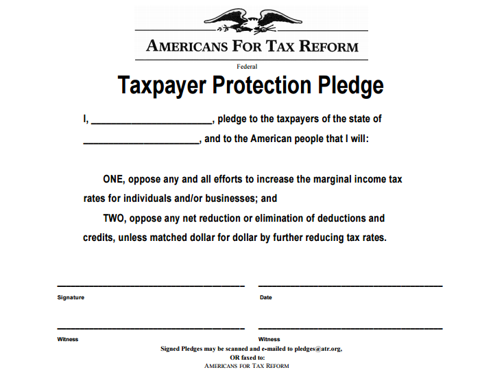 "The ""Taxpayer Protection Pledge"" that is such a big part of Republican primary politics."