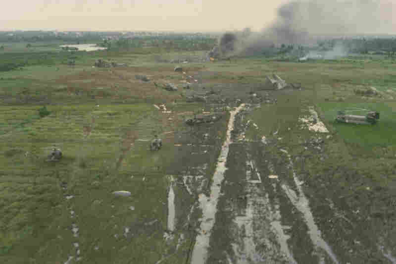 Aerial photos of the 1975 crash of the first Operation Babylift flight were taken by a person aboard an Air America rescue helicopter. The undeveloped film was given to the pilot, Capt. Bud Traynor, before he left Saigon.