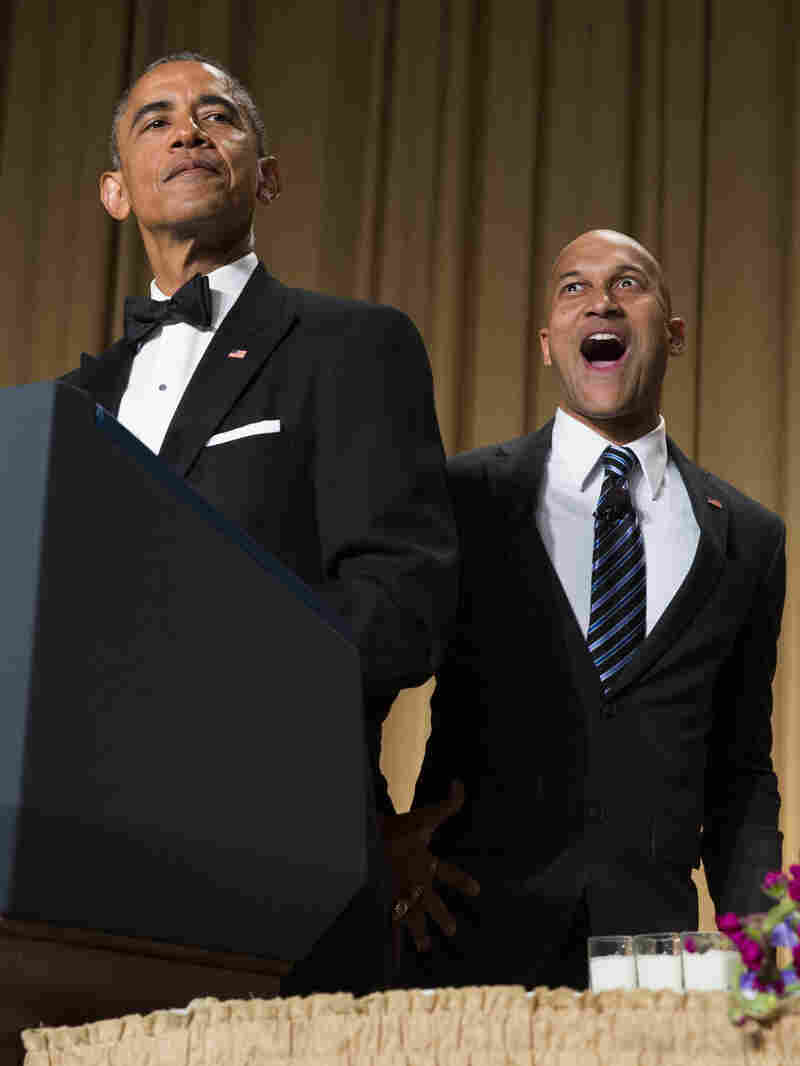 "President Barack Obama brings out actor Keegan-Michael Key from Key & Peele to play Luther, Obama's ""Anger Translator"" during the White House Correspondents dinner."