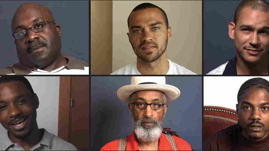 """Question Bridge: Black Males"" attempts to represent black male identity in America via a video question-and-answer exchange. At top center is Jesse Williams, the project's executive producer."