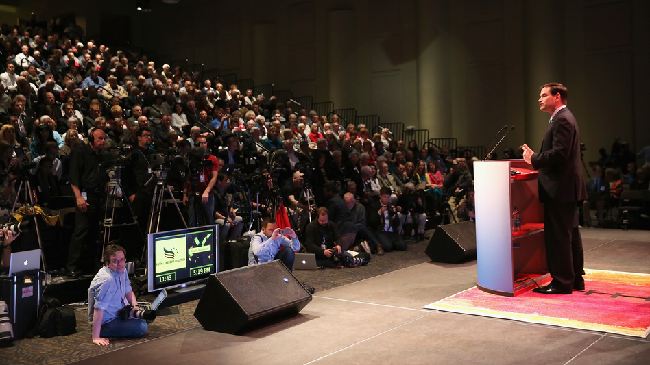 Sen. Marco Rubio spoke at the an Iowa Faith and Freedom Coalition meeting last weekend. (Scott Olson/Getty Images)