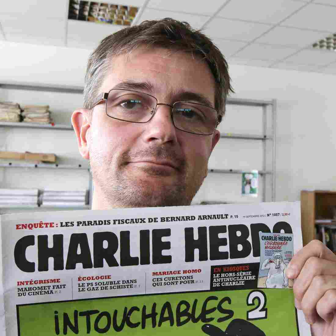 """Stephane """"Charb"""" Charbonnier, the late editor of Charlie Hebdo, is seen in September 2012. PEN American Center's decision to give the French satirical magazine its annual Freedom of Expression Courage Award has prompted six writers to withdraw from the annual event."""