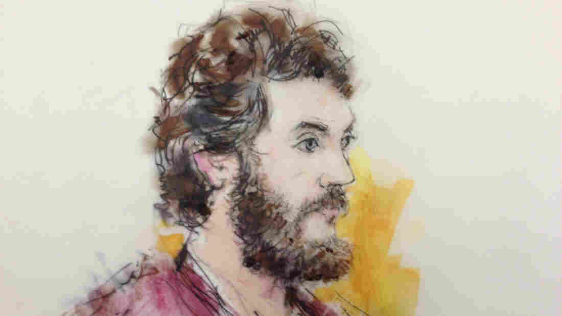 An artist's sketch of Colorado theater shooting suspect James Holmes, from an April 2013 court appearance.