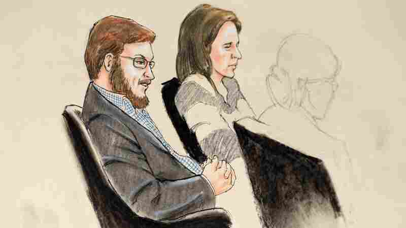 A courtroom sketch shows accused murderer James Holmes sitting with Arapahoe County Public Defender Tamara Brady at the Arapahoe District Courthouse in Centennial, Colo., in January. His trial will begin with opening statements Monday.