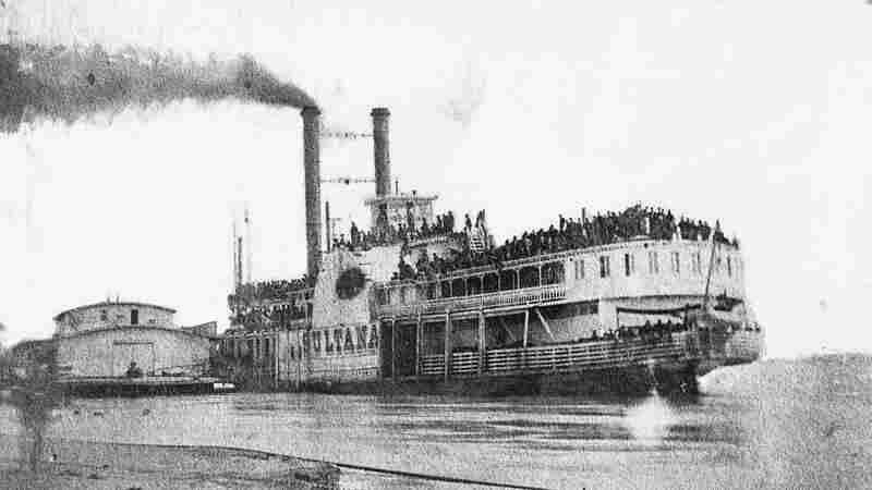 The ill-fated Sultana in Helena, Ark., just before it exploded on April 27, 1865, with about 2,500 people aboard. Most were Union soldiers, newly released from Confederate prison camps.