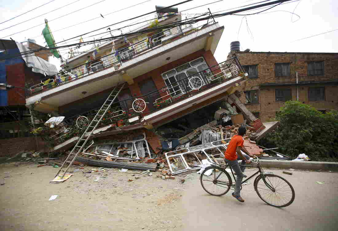 Houses collapsed after Saturday's quake. The newly homeless are living in tents.