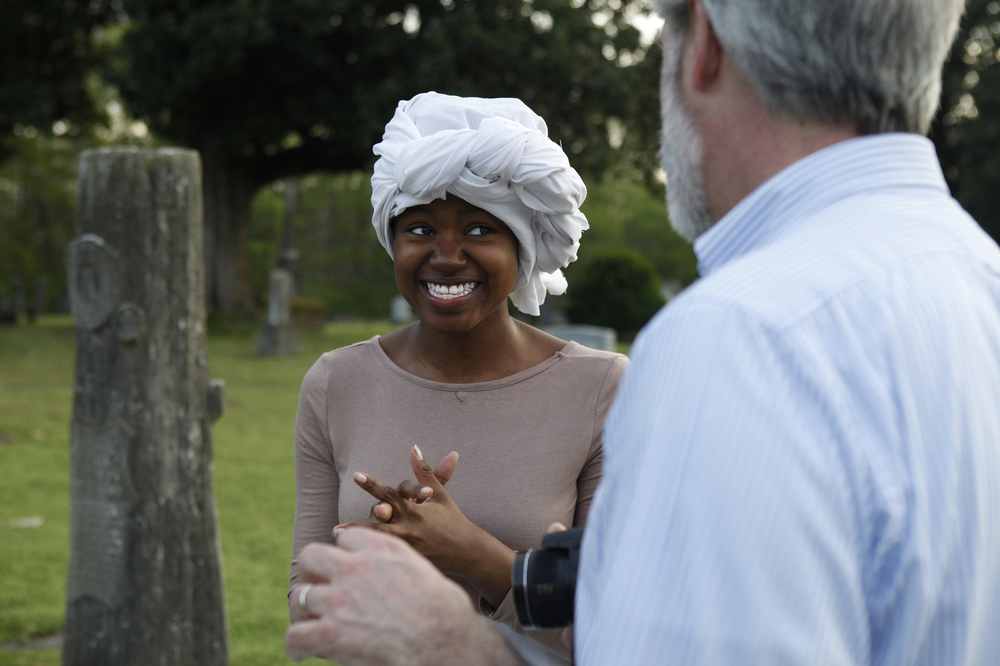 Jasmine King, 17, gets advice from Yarborough for her performance of Ann Pryell, the daughter of two slaves.