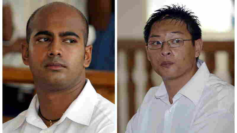 A composite image of file photos shows Australians Myuran Sukumaran (left) and Andrew Chan in Denpasar district court in Bali. Indonesia has rejected appeals for clemency in their cases. The two will reportedly be executed early Wednesday.