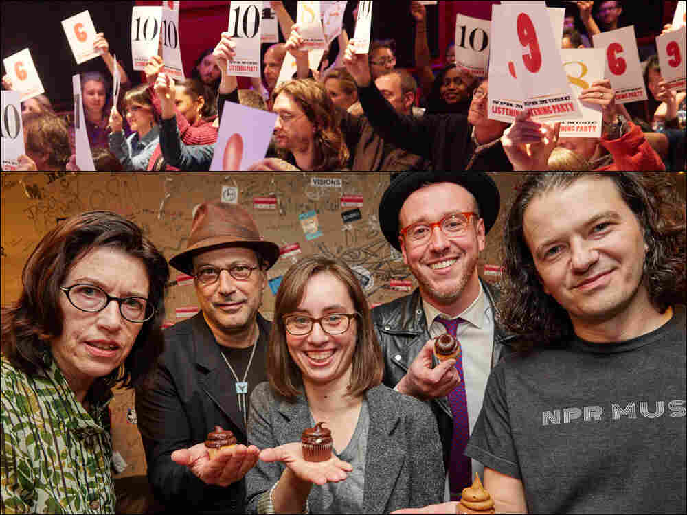 Top row: Audience members rate the music during our All Songs Considered listening party. Bottom row, left to right: Susan Rogers, Bob Boilen, Amelia Mason, James Reed, Stephen Thompson.