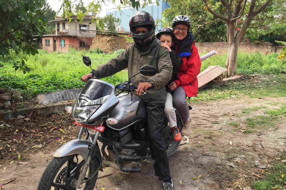Journalist Donatella Lorch broke her no-motorcycle rule so she and her 10-year-old son, Lucas, could survey earthquake damage.