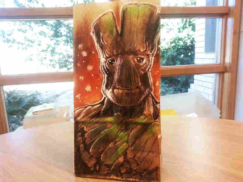 Derek Benson is the father of two behind the Lunchbag Art project.He started the Tumblr to create a visual record of the paper lunch illustrations he creates for his kids. Here, Benson's take on Groot, from Guardians of the Galaxy.