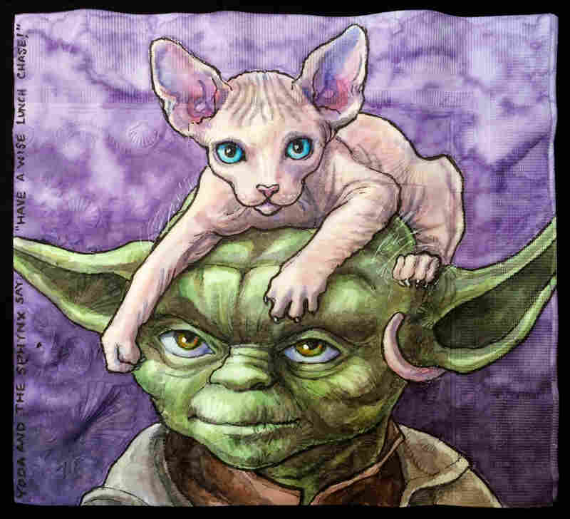 "Yoda and the Sphynx say: ""Have a wise lunch Chase!"""