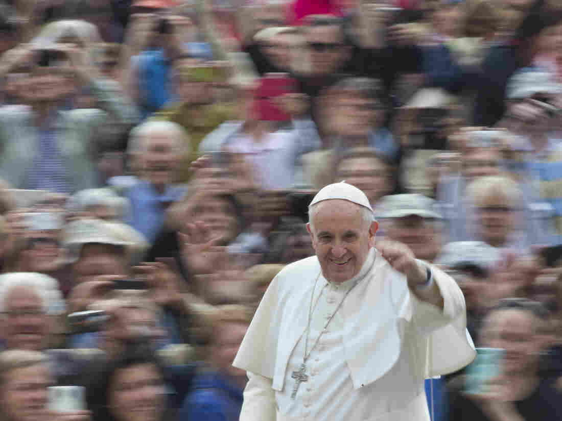Pope Francis arrives for his weekly general audience in St. Peter's Square at the Vatican on April 29.