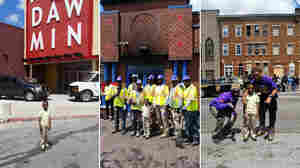 Father and son take a tour of Baltimore after schools were closed on Tuesday.