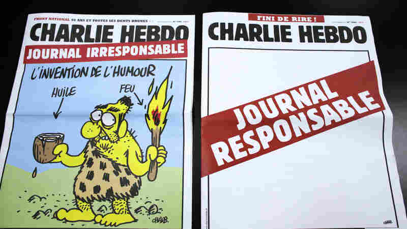 """This pair of Charlie Hebdo covers from 2012 pokes fun at the magazine's """"irresponsible"""" approach to humor."""