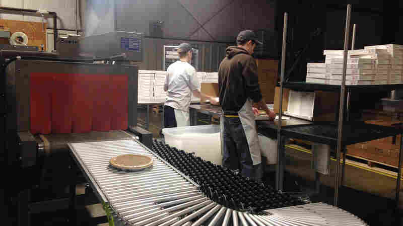 """A view inside the Kern's Kitchen factory in Louisville, Ky. Though lots of people in Kentucky have their own versions of what they call """"derby pie,"""" the Kern family trademarked the name """"Derby-Pie"""" decades ago. And the Kerns are quite vigilant about protecting that brand name."""
