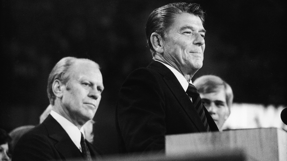 "The 1976 nominating struggle between Gerald Ford and Ronald Reagan, seen here speaking at the Republican National Convention in Kansas City, showed the growing appeal of putting the nomination in the hands of ""the people"" — meaning the people who participate in primaries and caucuses."
