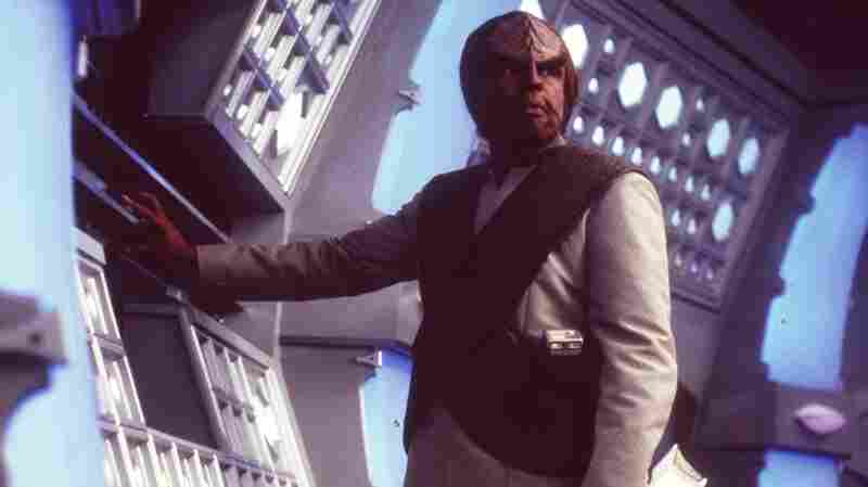 Michael Dorn as Worf, a Klingon, in the 1998 movie, Star Trek: Insurrection.