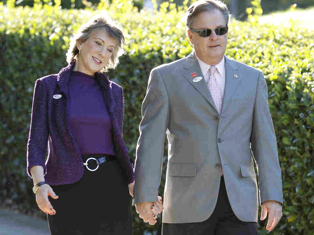 Carly Fiorina, and her husband, Frank Fiorina, on Election Day 2010, when she ran for Senate from California.