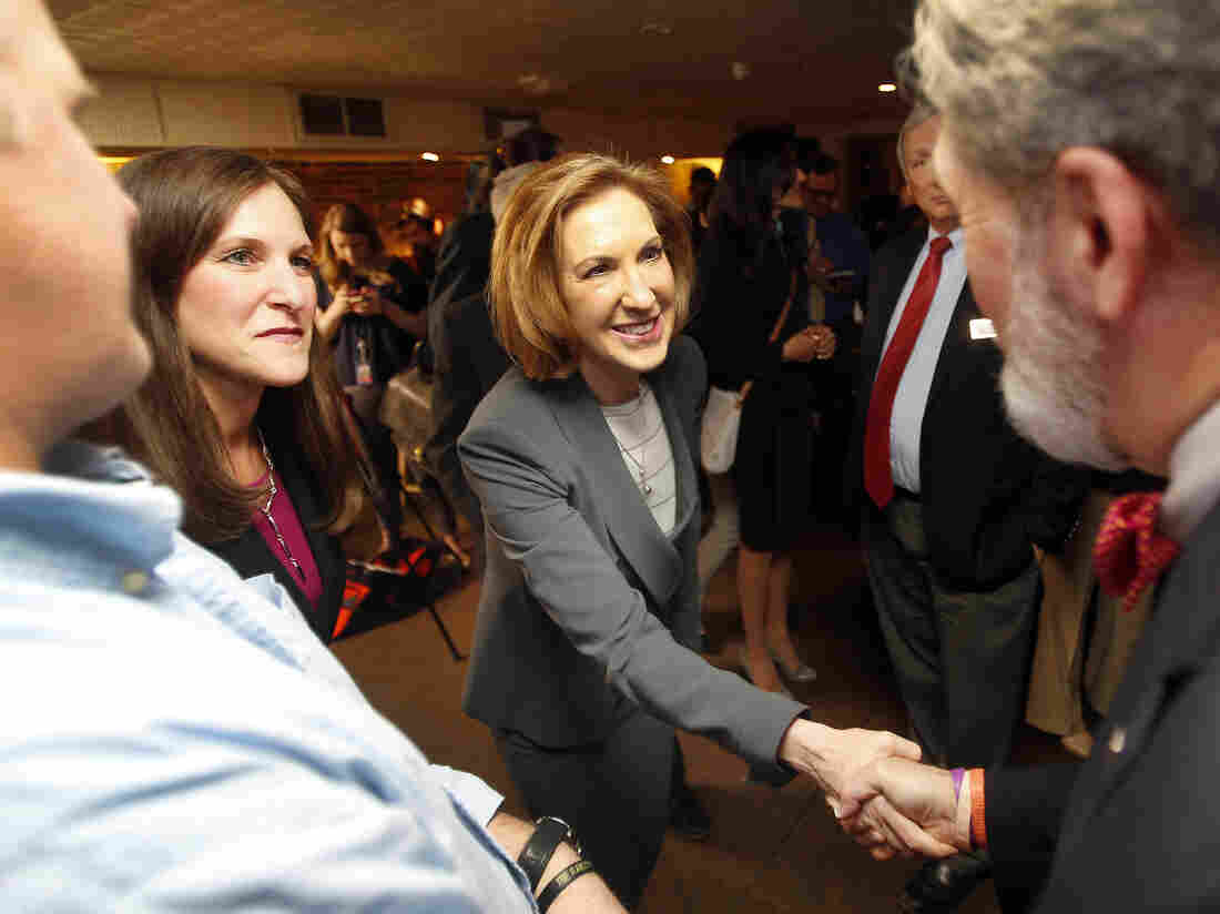 Carly Fiorina at a luncheon Tuesday with New Hampshire Republican lawmakers.