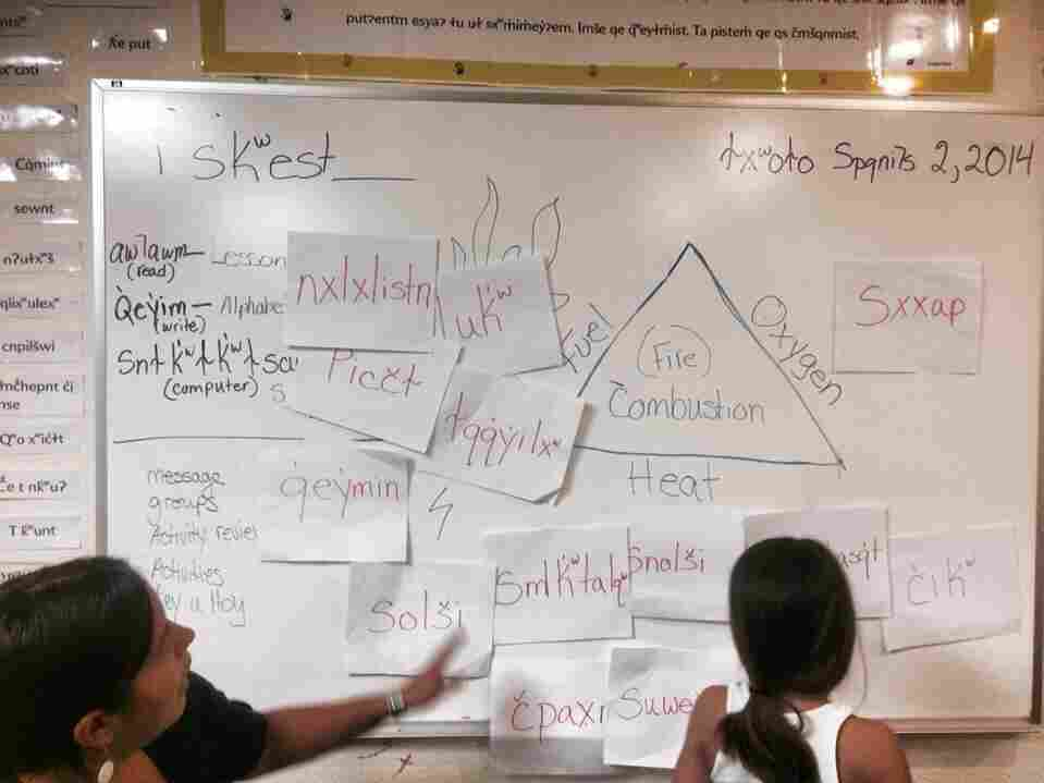 """At Montana's Nkwusm Salish Language School, teacher Echo Brown works with a student learning Salish words. Luk means """"wood"""" or """"stick."""" Picct means """"leaf"""" and solsi translates to """"fire."""""""