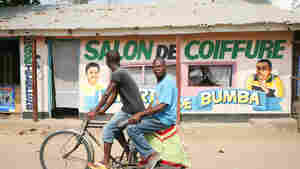 Hair salons and bicycles are abundant in Bumba, a town in the Democratic Republic of Congo.