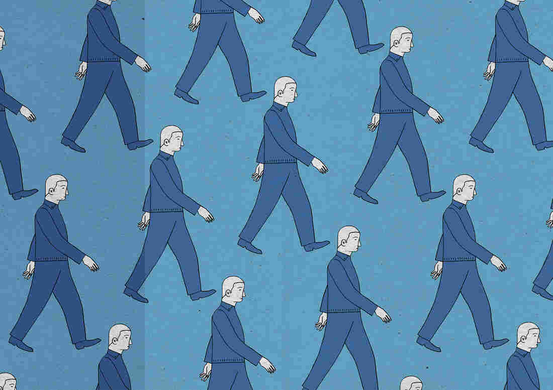 Pattern of similar men walking in rows