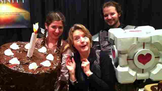 Ellen McLain (center) meets with fans of GlaDOS, the popular character from the Portal and Portal 2 video games which she voices.
