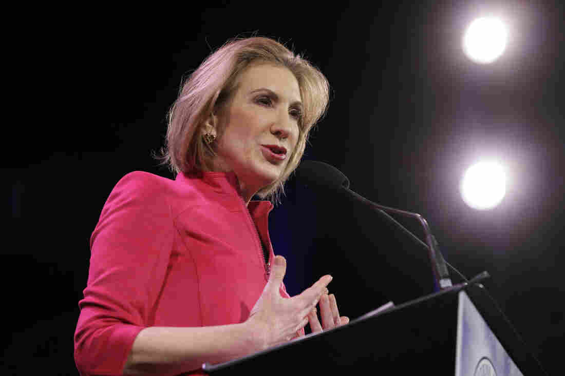 Carly Fiorina speaks in Des Moines, Iowa, in January. So far, Fiorina is the lone notable Republican woman eyeing the White House.