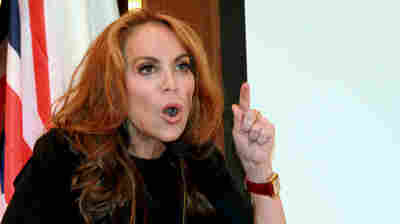 "In this photo taken Sept. 11, 2012, blogger Pamela Geller speaks at a New York conference she organized titled ""Stop Islamization of America."""