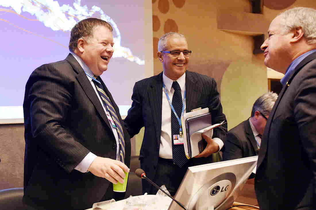 """ADP Co-chairs Daniel Reifsnyder (left) and Ahmed Djoghlaf (center) say their negotiation work is difficult but worth it. """"We only have one planet, you know,"""" Reifsnyder says. """"We have to protect it."""""""