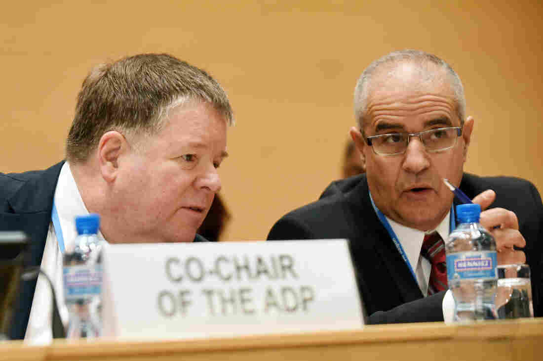ADP Co-chairs Daniel Reifsnyder (left) and Ahmed Djoghlaf at a February conference in Geneva.