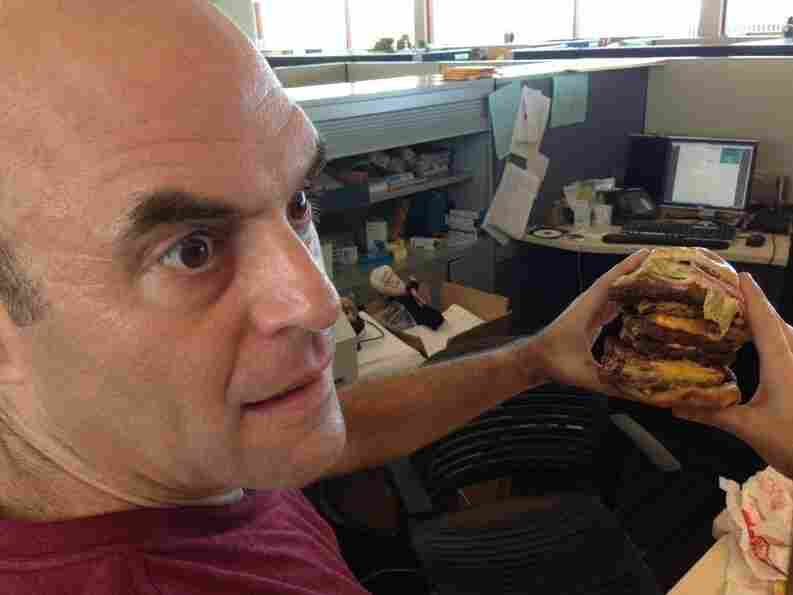 The nine-patty T-Rex Burger helped Peter realize in 2013 that he'd been eating underpattied burgers his whole life.