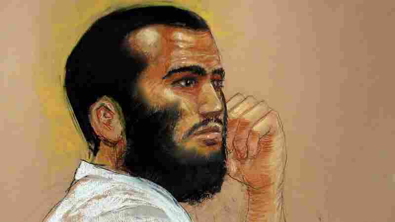 Canadian-born Omar Khadr is seen in a courtroom sketch during a 2010 hearing at the U.S. military prison a