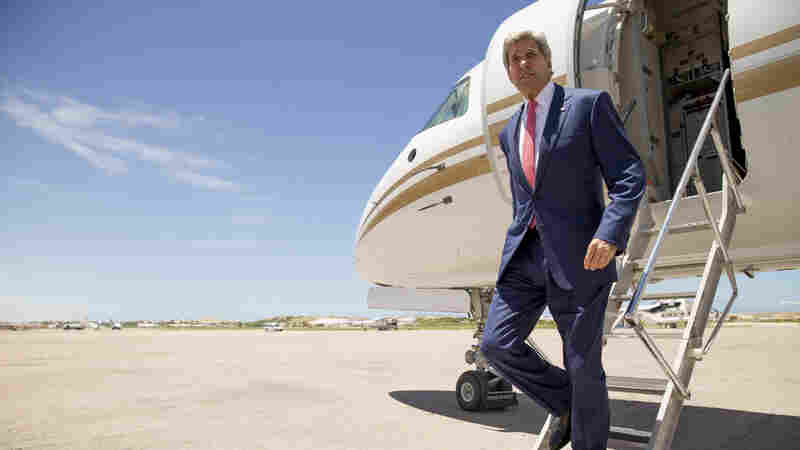 Secretary of State John Kerry arrives at the airport in Mogadishu, Somalia on Tuesday. Kerry made unannounced trip to Somalia in a show of solidarity with the government trying to defeat al-Qaida-allied militants.