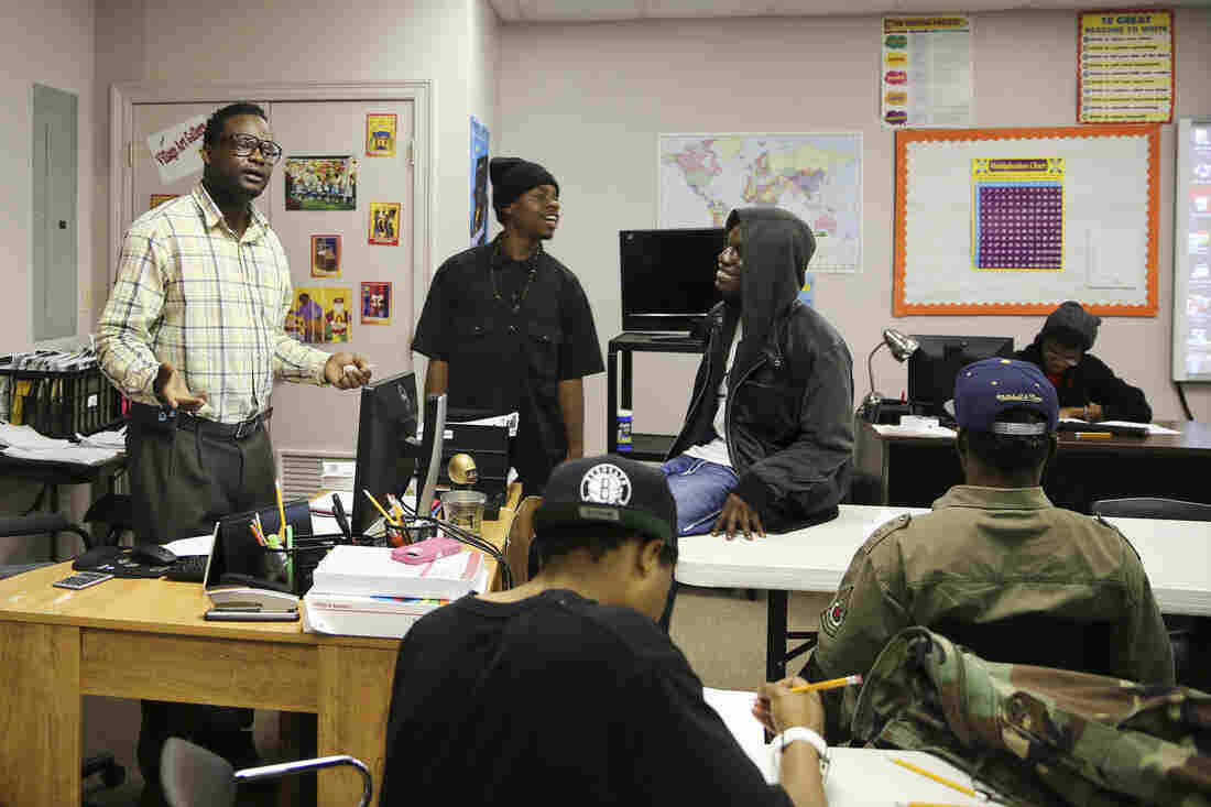 Rodney Carey (left) with students at the Youth Empowerment Project in New Orleans.