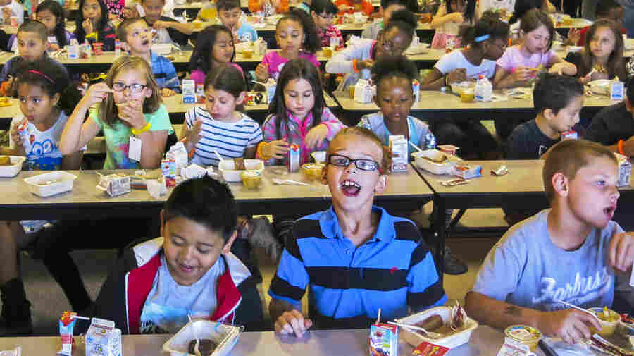 Students eating lunch at Robert Forbuss Elementary School in Las Vegas. The school, designed for 780 students, enrolls 1,230.