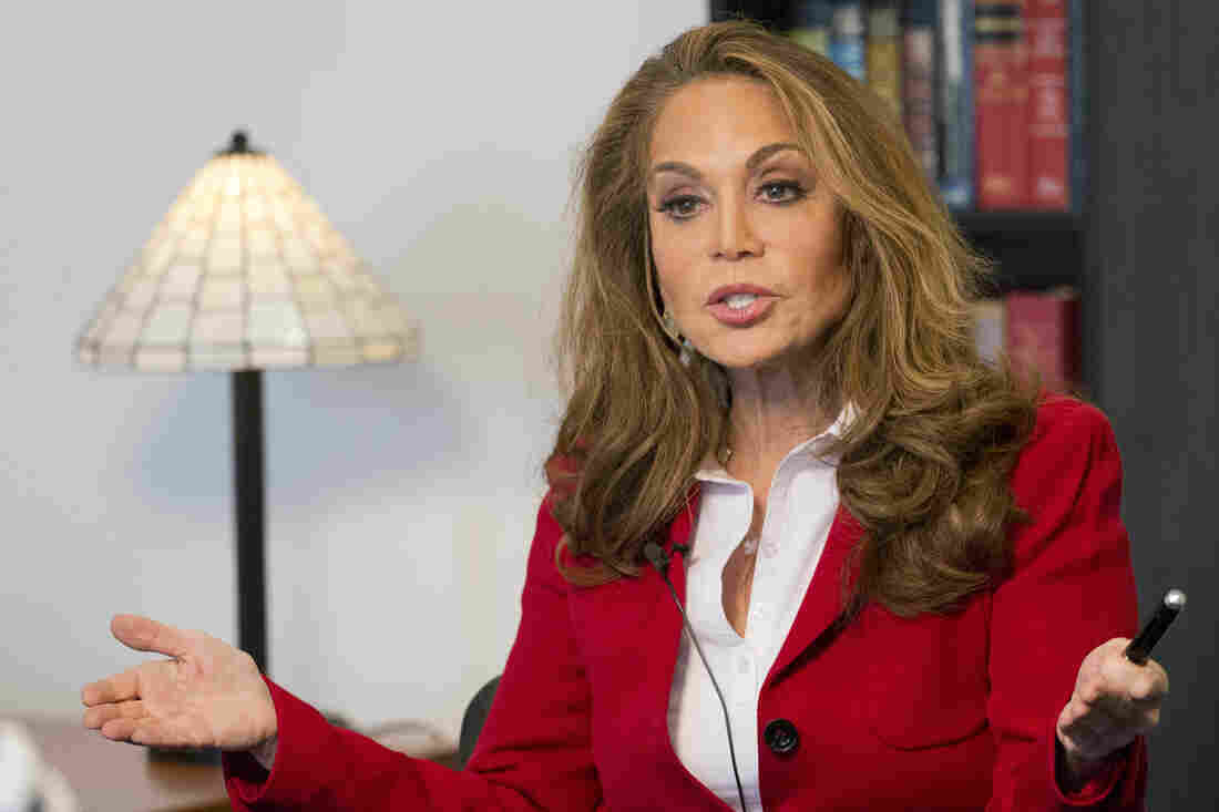 Pamela Geller is interviewed at The Associated Press on Thursday. Geller was the organizer of a controversial cartoon contest about the Prophet Muhammad in Texas last weekend where two men started shooting before they were killed by police.