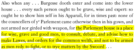 British rules, like the one above banning swords in Parliament, were designed to create civility among lawmakers.