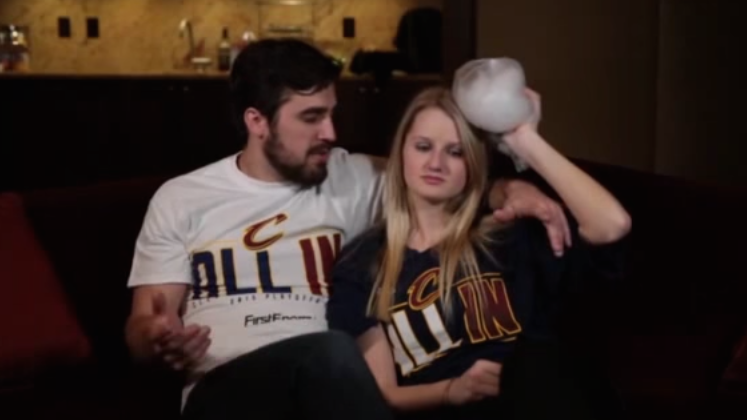 A screen grab of a promotional video shown by the Cleveland Cavaliers.