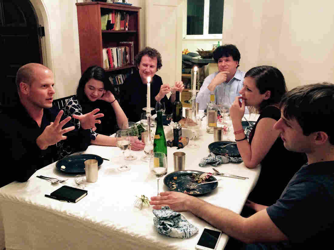 A recent Death over Dinner party in San Francisco. From left: Tim Ferriss, Laura Deming, Luke Nosek, Eric Weinstein, Mason Hartman, and Max Hodak.