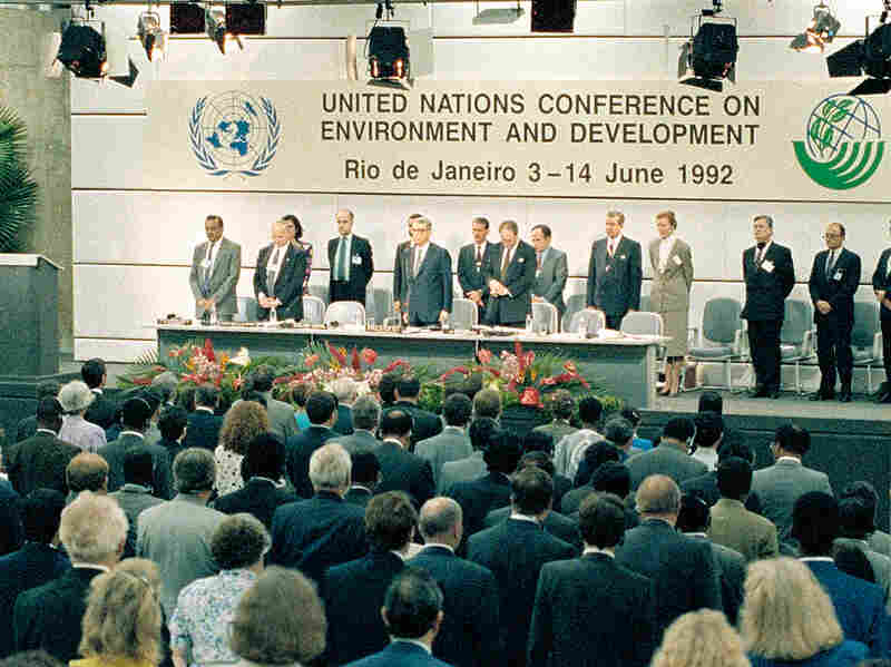 United Nations Secretary General Boutros Boutros-Ghali, center, and conference organizers are shown during opening ceremonies at the Earth Summit in Rio de Janeiro, Brazil, on June 3, 1992.